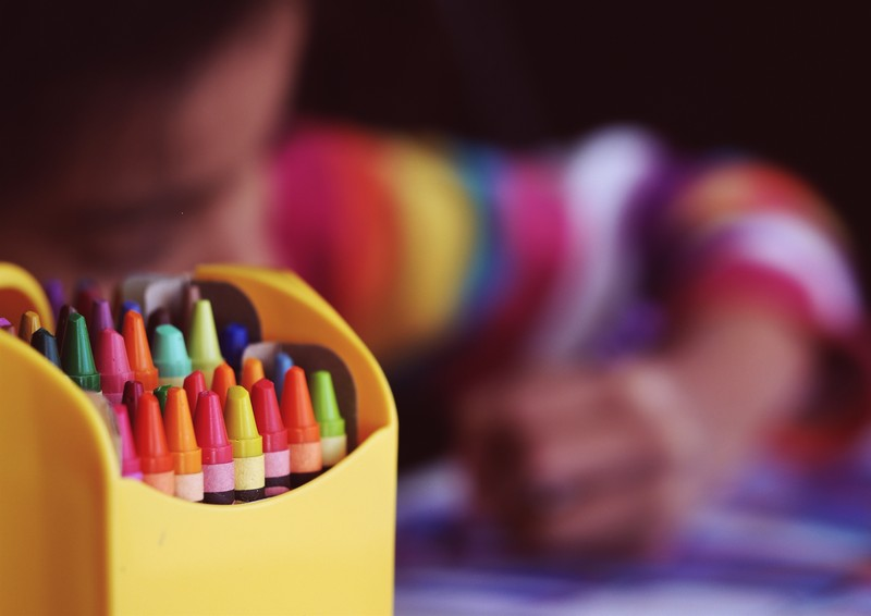 A child coloring